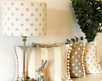 Star fabric lamp shade, with pom-poms