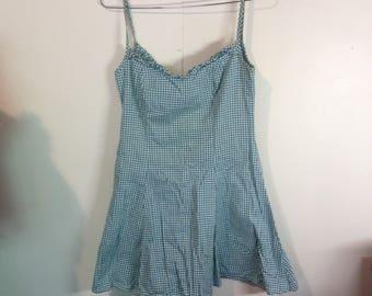 green checkered mini dress