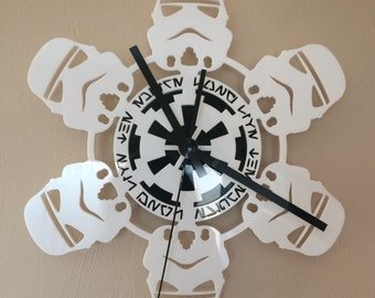 Star Wars Wall Clock Stormtrooper in White Gloss with quartz movement hanging Star Wars Clock