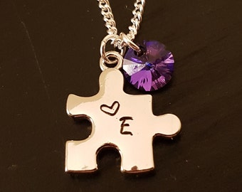 Hand-stamped Initial Puzzle Piece with Swarovski Crystal on Sterling Silver Necklace