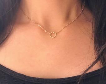 Matte rose gold hexagon necklace