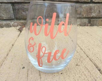 Coral wild & free stemless wine glass