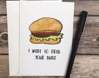 hamburger card - grab your buns card - sexy card - flirty card - naughty card - husband card - anniversary card - funny card - mature card