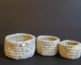 Chunky Stackable Crochet Baskets