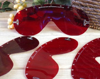 Red Transparent Steampunk Plastic Goggles, WWII Polaroid RED Dark Adaptor Lens, Military Goggles, Burning Man, Military Memorabilia #7-57
