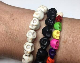 Skull bracelet, Halloween bracelet, stretch bracelet, Halloween Jewelry