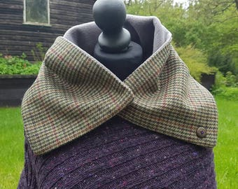 Scottish Lovat Tweed Hand made collar. Neck warmer. Scarf.SALE
