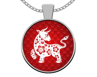 Year of the Ox Necklace - Chinese Zodiac Silver Pendant Charm - Born in Year 1925, 1937, 1949, 1961, 1973, 1985, 1997, 2009