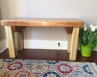 Recyled maple flooring bench