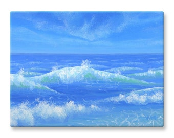 """Ocean Wall Art, Painting, Canvas Print, Waterscape, 12x16"""""""