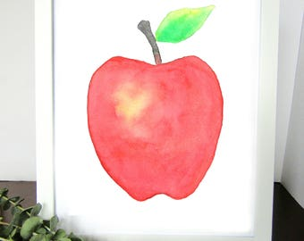 Red Apple Watercolor Print, Home Wall Art, Home Decor, Kitchen Decor, Teacher Gift, Gift for Her, Gift for Him, Kids Room Decor, Nursery
