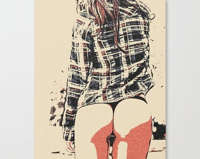 Erotic Art Canvas Print - We love thigh gap 3, unique sexy conte style print, perfect shapes girl sexy sketch, sensual high q...