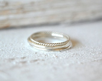 Silver Stack Ring. Stacking Ring Set, Thin Stacking Ring, Dainty Ring,Stackable Rings, Midi Ring, Knuckle Ring, Skinny Stacking Ring