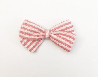 Pink Striped Bow - Classic Bow - Baby Bows - Baby Hair Clips - Baby Headbands - Toddler Headband - Baby Hair Bows - Hair Bows