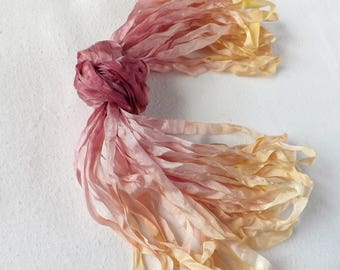10m hand dyed 7mm width silk ribbon, hand dyed variegated silk ribbon, ribbon for embroidery, silk ribbon embroidery