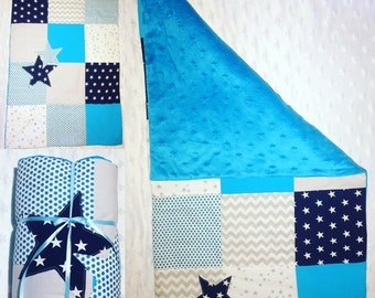 Cover quilted baby theme stars and turquoise done hand in France