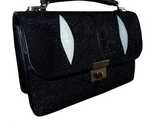 STINGRAY BUSINESS BAG in genuine Stingray leather accordion handbag