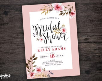 Bridal Shower Invitation with Watercolor Flowers and Pink Border