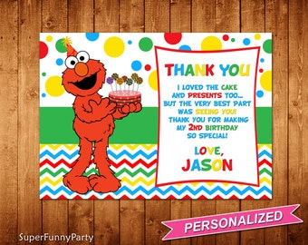 Sesame Street Thank You Card, Elmo Thank You Card, Elmo Thanks Card, Elmo Printable, Personalized, Digital File