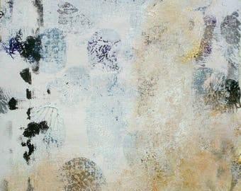 SALE Abstract Painting Metallic Gold White Minimalist on Canvas Textured Wall Art Original Art 10 x 12 Decor Modern Painting