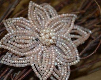 Vintage Beaded Hair Clip, Mauve Flower Hair Clip, Vintage Mauve Hair Clip, Wedding Hair Accessory, Vintage Barrette, Beaded Flower Hair Clip