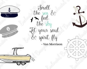Boating Bundle SVG, Captains Hat Cutting File, Anchor Cutting Files, Boat plotter files, Smell the Sea Saying cutting file