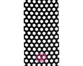 Monogrammed Towel - Beach Towel - Monogrammed Beach Towel - Black White Polka Dot - Personalized Towel - Embroidered Beach Towel