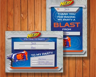 Nerf Party Invitations And Thank You Cards Printable Instant Download