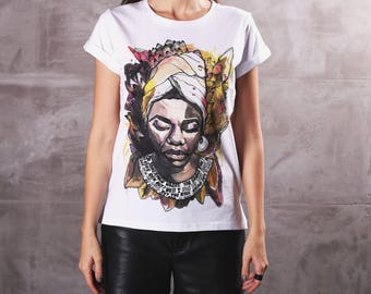 Nina Simone T-Shirt, Roll-up Sleeves T-shirt, Icon T-Shirt Active