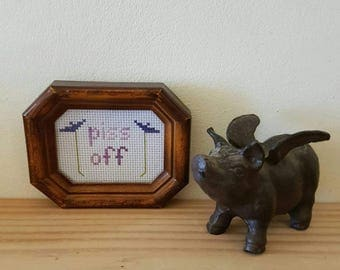 Piss Off framed cross stitch