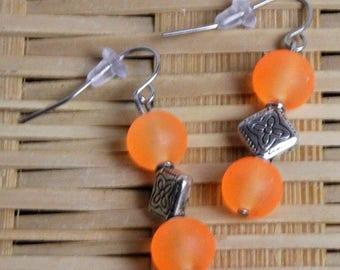 EARRINGS (Drop) 8MM Orange Frosted Beads