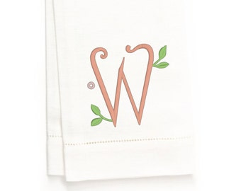 Georgia Monogram Hand Towel, White Linen