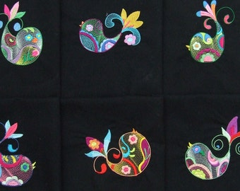 6 EMBROIDERED QUILT BLOCKS, panels, cushion panels  'Colourful Tweets'  100% cotton