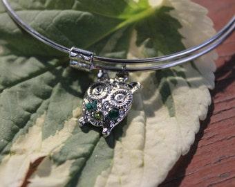 Owl Bangle Bracelet, Adjustable Bangel, Owl Charm bracelet, Handstamped Charm, Adjustable Silver Charm, Gifts for Her, Birthday Gift,
