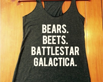 Bears. Beets. Battlestar Galactica tank top - the office tanks - dwight schrute - the office quotes - womens tanks