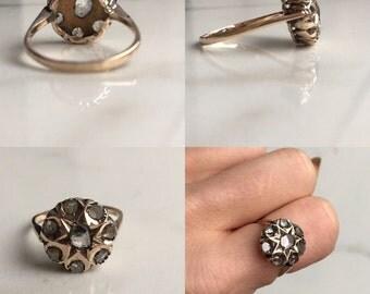 Rose cut diamond cluster flower star ring
