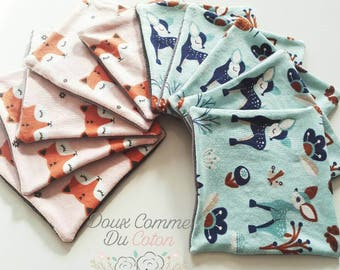 Wipes organic baby (12x12cm) patterns to choose from, organic cotton Washcloths
