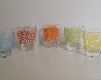 Pretty shot glasses (set of 5) - floral coloured patterns