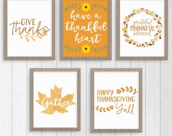 Thanksgiving Printables, Thanksgiving Print, Autumn Printable, Thanksgiving Printable Wall Art Print Set, Instant Download Digital item
