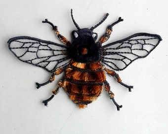 Moks17(p) Velvet bee insect Embroidery Patch