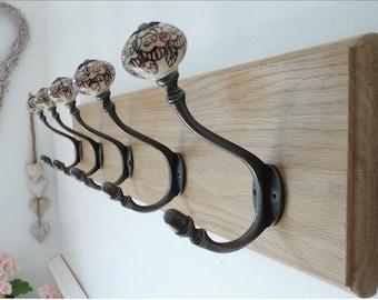 Vintage Style Oak Coat Rack - Handmade - Acorn Patterned / White Hooks