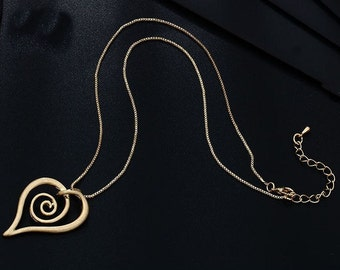 Swirl Gold or Silver Heart Necklace