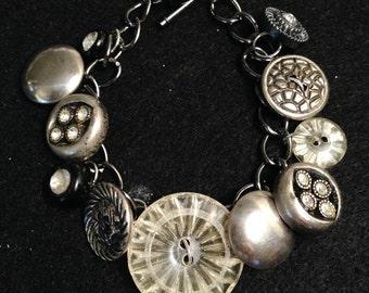 Vintage Button Bracelet - Silver
