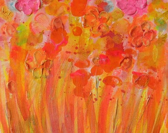 """Abstract Unique Acrylic Print - Contemporary Abstract Painting 8 x 10"""" Fine Art - Original Art Textured - Colourful Floral"""