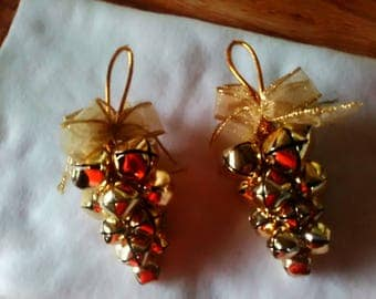 Set of 2,  Gold Tone Clustered Bell Ornaments