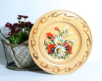 decorative wooden plate wall hanging plate vintage wall art german folk art wooden - Decorative Wall Plates
