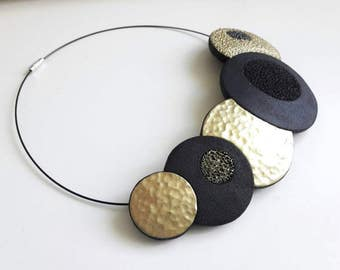 Elegant polymer clay necklace, bib necklace, gold, black, fimo necklace, geometric necklace, gift for her, statement necklace