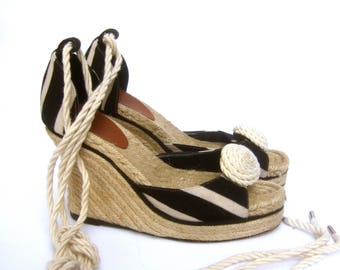 KATE SPADE Canvas Striped Rope Wedge Espadrille Sandals US Size 8 B