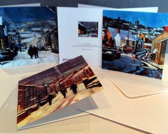 Christmas Card Packs of a snowy Pembrokeshire village, Christmas Eve, three kings, carol singers.