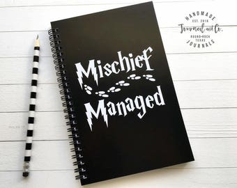 Writing journal, spiral notebook, bullet journal, sketchbook, black white, blank lined or grid paper, Harry Potter - Mischief Managed